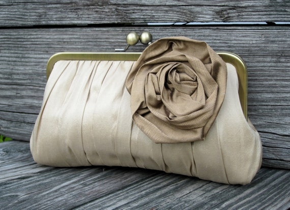 Gathered Kisslock Clutch w/ Large Rose (CHOOSE YOUR COLORS)