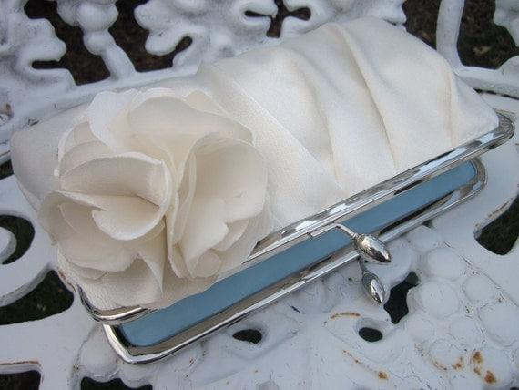 Precious Pleat Kisslock with Bloom: Ivory Satin Bridal Purse- Wedding Clutch