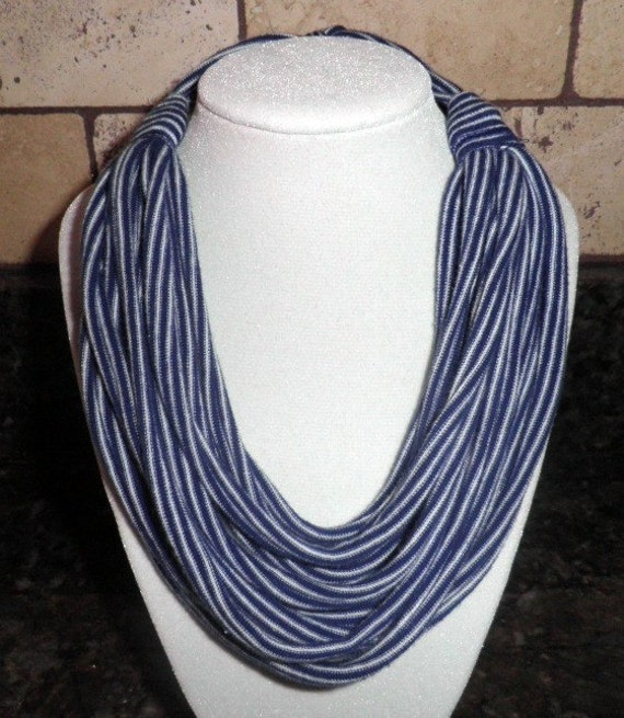 Blue and White Striped Tshirt necklace