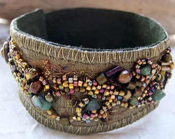 Fabric Collage  Cuff  Bracelet,  Bronze