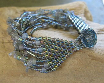 Icy Blue Labradorite Beaded Bracelet
