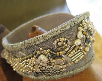 Silver Fabric Collage Cuff Bracelet