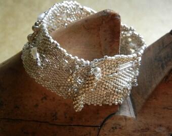 Free form Peyote Stitch Cuff  Bracelet  (Silver)