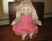 Cloth Doll with Rag Hair Handmade 26 Inch Reserved for Salle Anne