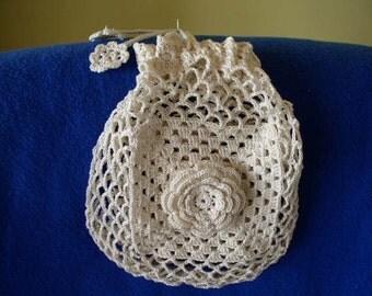 Victorian Drawstring Jewelry Bag 6x7 Hand Crocheted