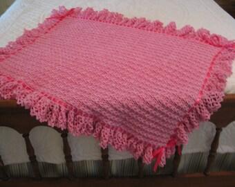 Pink Baby Blanket Hand Crochet
