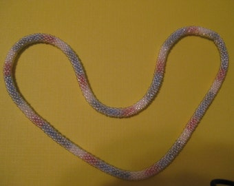 Neklace Using Crystal Seed Beads and Verigated Thread 24 Inches Hand Crochet