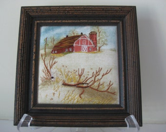 Barn Picture in 7 by 7 Inch Frame Hand Embrodery