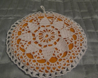 Crochet Hotpad in White and Golden 6 1/2 Inches Across