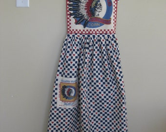Country Apron - Indian Head on Bib and Pocket Handmade