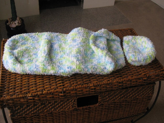 Snuggle Sack and Baby Cap, Knitted, Handmade