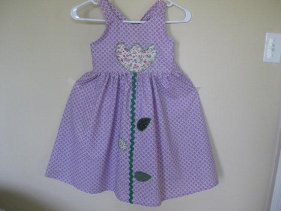 Dress, Girl, Size 6, Appliqued Flower and Leaves, Lavender Handmade