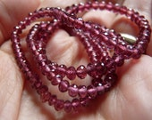AAA Micro Faceted Rhodolite Garnet Rondelle Beads 2 to 3.5mm - 8 inches strand