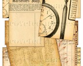 Digital Collage Sheet ATC BACKGROUND IMAGES with Distressed Edges Aged and Antiqued Vintage OLD PAPERS, MuSiC NoTeS, LEdgER PaPeR, SteAmPunK WaTcH, AnTiQue PosTaGe ACEO Supplies