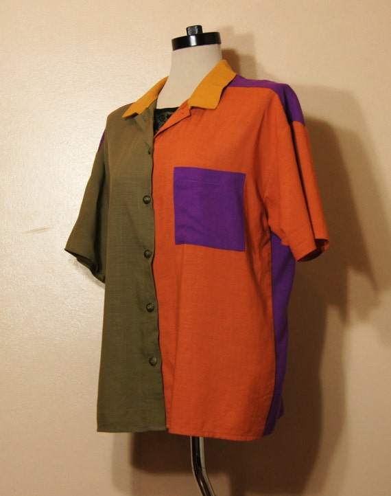 70s Color Block Blouse SALE Vintage Collared Menswear Medium Large