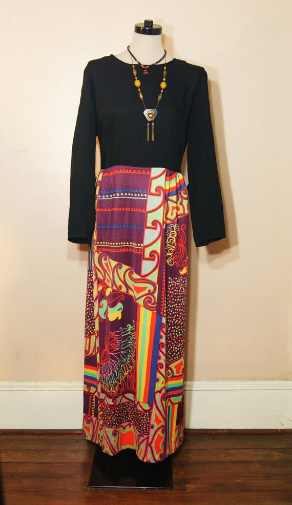 60s 70s Maxi Dress Large XL Plus Size Psychedelic Print Vintage Hippie Boho Acid Colorful