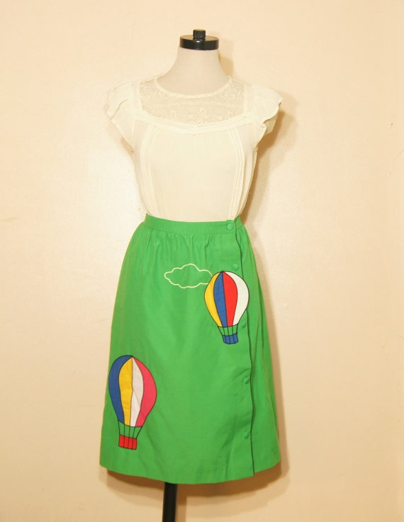 Hot Air Balloon Skirt 60s Vintage Insane Quirky Small XS Elastic Waist Green Peter Popovitch