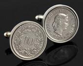 Switzerland gift - Perfect swiss gift for men or a wedding - 10 Rappen Cufflinks- Genuine swiss coins- Handpolished - 100% satisfaction