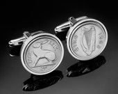 Ireland threepence Cufflinks-Genuine Coins- WB yeats the poet chose the design-Rare cufflinks