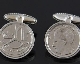 Belgium cufflinks- Made from Belgium franc coins- Very rare, perfect gift.