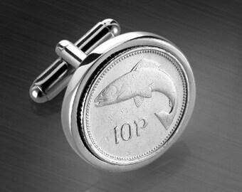 Irish coin cufflinks - Irish 10p Coin - Salmon of Knowledge - Presentation box included - 100% satisfaction - 3 day shipping option