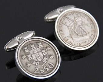 Portugal Escudos Cufflinks-Perfect gift- Free silver cufflinks box - 100% satisfaction - Rare coins