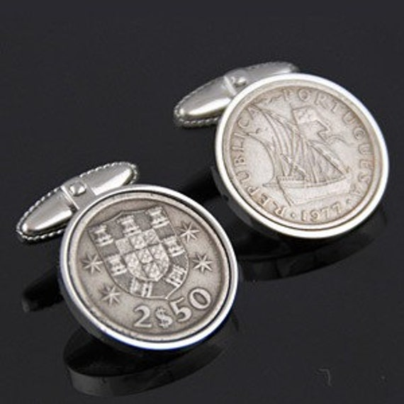Portugal Escudos Cufflinks- Genuine Portuguese  rare coins- Perfect gift.