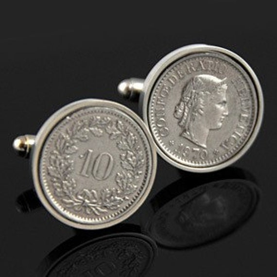 Switzerland gift- Perfect swiss gift for men or a wedding-10 Rappen Cufflinks- Genuine swiss coins- Handpolished. Perfect present