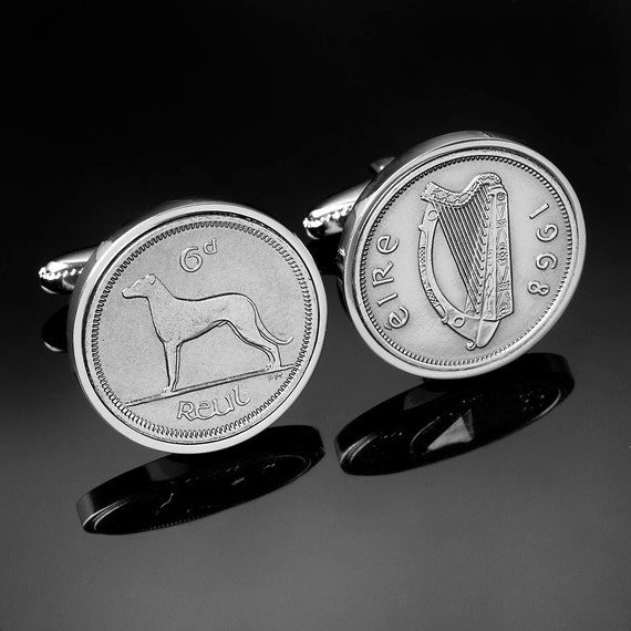 Cufflinks for men-Irish wolfhound cufflinks- Old Irish sixpence coin. Real coins used.