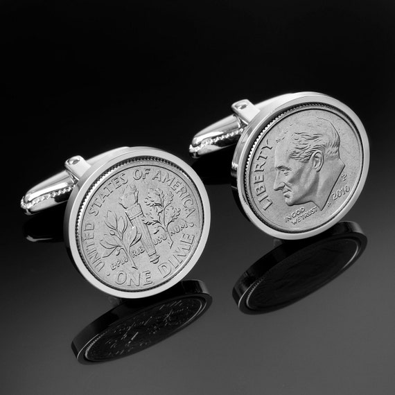 US Cufflinks- Genuine US mint 10 Cent Cufflinks-A coin is good luck on the wedding day.Perfect gift.