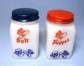 Vintage Hocking Glass Patriotic Salt and Pepper Shakers