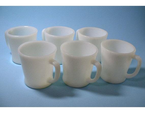 Vintage FireKing Snow White Mugs