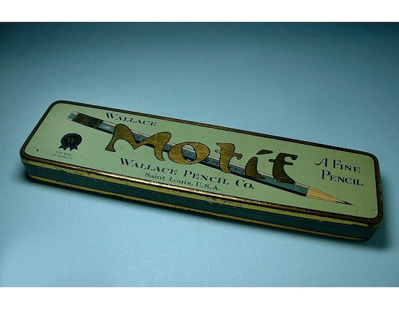 Vintage Tin Pencil Box made by Wallace Pencil Co.