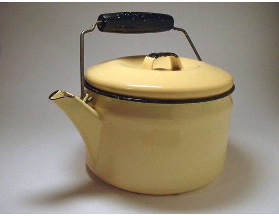 Vintage Yellow Enamel Tea Kettle