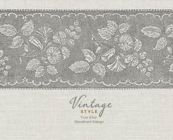 RESERVED for robinstapp - Vintage Sixty Eight - Etsy Shop Banner Package, 6 graphics