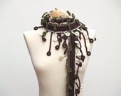 Dark and light brown, green and white cotton scarf