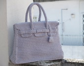 Grey crochet Birkin bag - handmade purse with the style of one of the most famous bags