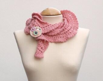 Pink crochet scarf - soft rose scarf - handmade unique piece