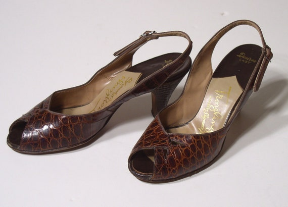 Vintage Shoes 1940's Women's ALLIGATOR PEEP-TOE Slingback Pumps