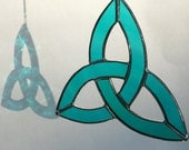 Stained Glass Trinity Knot in Teal