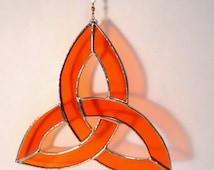 Orange Stained Glass Trinity Knot