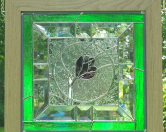 Stained Glass Spring Crocus Framed Panel