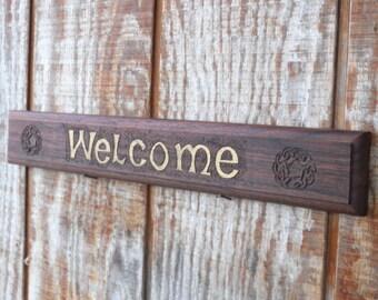 Carved Walnut Celtic Welcome Sign