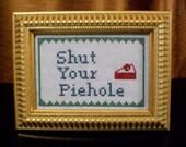 Shut Your Piehole Cross Stitch - Savory Sage Blueberry and Cherry