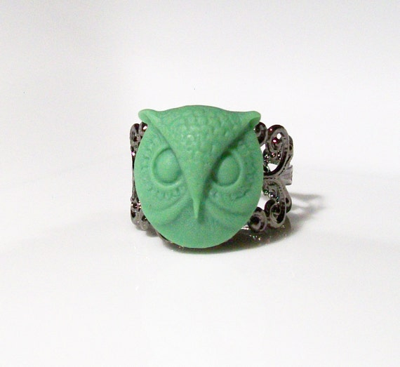 Green Owl Acrylic Cabochon on a Metallic Chocolate Enamel Filigree Adjustable Ring