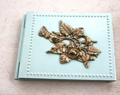 Sale - Shabby Chic Vintage Address Book - Pastel Blue Metal Outside Cover and Backing
