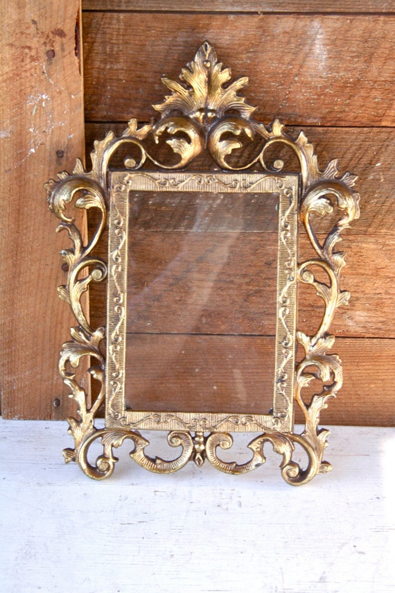 Antique Gold Cast Iron Ornate Frame - Glass Included