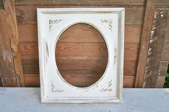 Antique White Distressed Frame  - Ornate and Super Shabby Chic