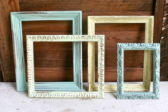 FOUR Hand Painted Ornate Frames - Painted with Pastel Shabby Chic Colors and Hand Distressed
