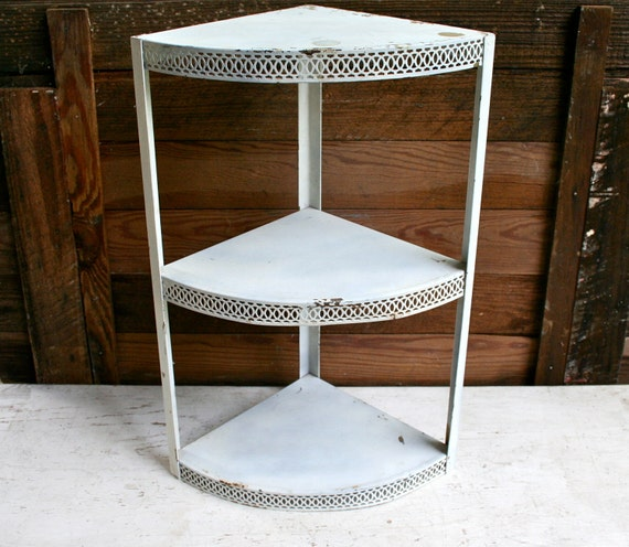Antique THREE Tier CORNER Shelf - Original Paint - Super Shabby Chic